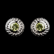 Vintage Silver CZ Peridot Stud Earrings 3587