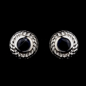 Royal Princess Kate Middleton Inspired Vintage Silver CZ Navy Stud Earrings 3587