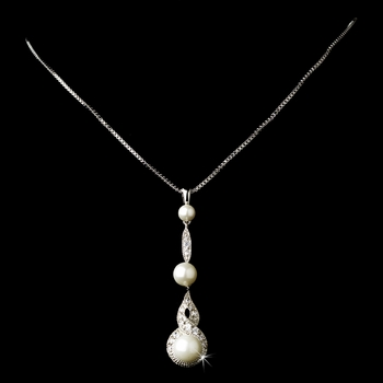 Classy Silver Clear CZ & Diamond White Pearl Drop Necklace 5077