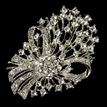 Elegant Vintage Crystal Bridal Pin for Hair or Gown Brooch 17 Antique Silver Clear