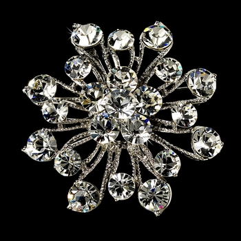 * Elegant Vintage Crystal Bridal Pin for Hair or Gown Brooch 10 Antique Silver Clear