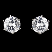 Silver Clear CZ Crystal Stud Clipped Earrings 0525