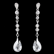 Silver Clear CZ Crystal Dangle Earrings 0550
