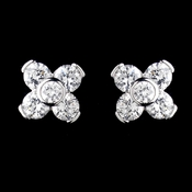 Silver Clear CZ Crystal Flower Stud Earrings 0598