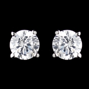 Silver Clear Round CZ Crystal Stud Clipped Earrings 0650