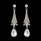 Silver Clear Teardrop CZ Crystal Drop Earrings 0983