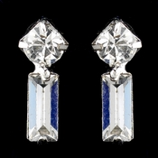Silver Clear Baguette Rhinestone Drop  Earrings 3005-2