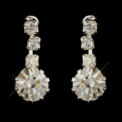 Silver Clear Round Rhinestone Drop Earrings 4012-6