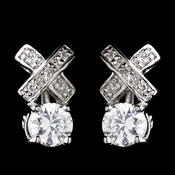 Silver Clear CZ Crystal X&O Stud Earrings 4480