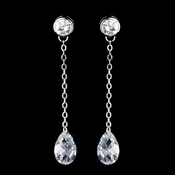 Silver Clear CZ Crystal  Dangle Earrings 5211