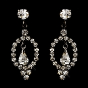 Hematite Clear Round & Teardrop Rhinestone Dangle Earrings 2840