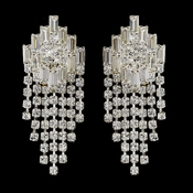 Silver Clear Baguette & Round Rhinestone Chandelier Earrings 5282