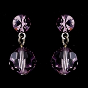 Silver Light Amethyst Swarovski Crystal Bead Drop Earrings 202