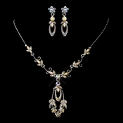 Antique Silver Rhodium AB & Clear Marquise & Round Rhinestone Necklace & Earrings Jewelry Set 0314