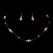 Silver Pink Pearl Illusion Necklace & Earrings Jewelry Set 8601