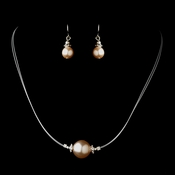 Silver Pink Czech Glass Pearl & Bali Bead Illusion Necklace & Earrings Jewelry Set 8662