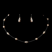 Silver Pink Czech Glass Pearl & Clear Rhinestone Rondelle Necklace & Earrings Jewelry Set 8805