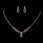 Silver Fuchsia & Clear Marquise Rhinestone Necklace & Earrings Jewelry Set 2624