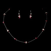Silver Burgundy Czech Glass Pearl & Clear Rhinestone Rondelle Necklace & Earrings Jewelry Set 8805