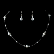 Silver Light Blue Pearl Illusion Necklace & Earrings Jewelry Set 8601