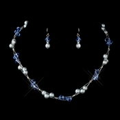 Silver Light Blue Czech Glass Pearl & Swarovski Crystal Bead Multiweave Illusion Necklace 8672 & Earrings 2031 Jewelry Set