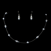 Silver Light Blue Czech Glass Pearl & Clear Rhinestone Rondelle Necklace & Earrings Jewelry Set 8805