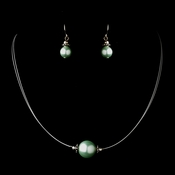 Silver Peridot Czech Glass Pearl & Bali Bead Illusion Necklace & Earrings Jewelry Set 8662