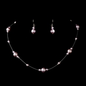 Silver Light Amethyst Pearl Illusion Necklace & Earrings Jewelry Set 8601