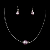 Silver Light Amethyst Czech Glass Pearl & Bali Bead Illusion Necklace & Earrings Jewelry Set 8662