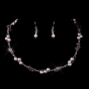 Silver Light Amethyst Czech Glass Pearl & Swarovski Crystal Bead Multiweave Illusion Necklace 8672 & Earrings 2031 Jewelry Set