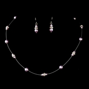 Silver Light Amethyst Czech Glass Pearl & Clear Rhinestone Rondelle Necklace & Earrings Jewelry Set 8805