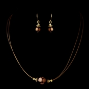 Gold Brown Czech Glass Pearl & Bali Bead Illusion Necklace & Earrings Jewelry Set 8662
