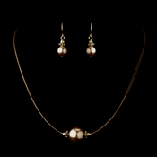 Gold Light Brown Czech Glass Pearl & Bali Bead Illusion Necklace & Earrings Jewelry Set 8662