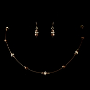Gold Brown Czech Glass Pearl & Clear Rhinestone Rondelle Necklace & Earrings Jewelry Set 8805