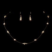 Gold Light Brown Czech Glass Pearl & Clear Rhinestone Rondelle Necklace & Earrings Jewelry Set 8805