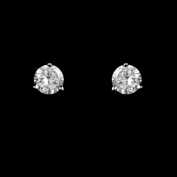 Petite Silver Clear Cubic Zirconia Crystal Stud Earrings E 2431 (Silver or Gold)