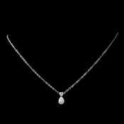 Silver Clear Teardrop CZ Crystal Necklace 6015