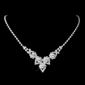 Silver Clear Round Rhinestone Necklace 9381