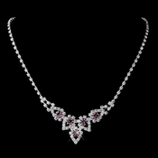 Silver Light Amethyst & Clear Round Rhinestone Necklace 9381