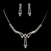 Silver Clear Marquise Rhinestone Necklace & Earrings Jewelry Set 0066