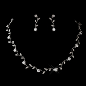 Silver Clear CZ Necklace & Earrings Jewelry Set 0112