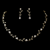 Gold Clear CZ Crystal Necklace 0112 & Earrings 0116 Jewelry Set