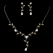 Gold Clear CZ Teardrop Necklace & Earrings Jewelry Set 0116