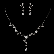 Silver Clear CZ Teardrop Necklace & Earrings Jewelry Set 0116