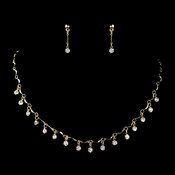 Gold Clear Rhinestone Dangle Necklace & Earrings Jewelry Set 0993