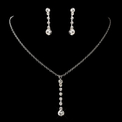 Silver Clear Round Rhinestone Necklace & Earrings Jewelry Set 1466