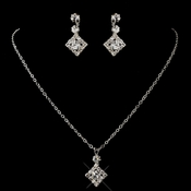 Silver Clear Round Rhinestone Necklace & Earrings Jewelry Set 1467