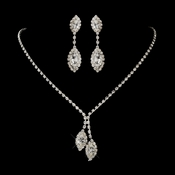 Silver Clear Double Marquise Rhinestone Necklace 1815 & Earrings 8874 Jewelry Set