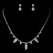 Silver Clear Round Drop Rhinestone Necklace 2876 & Earrings 1463 Jewelry Set