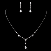 Antique Silver Rhodium Clear CZ Crystal Necklace & Earrings Jewelry Set 3408